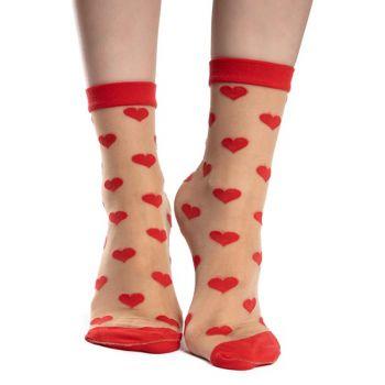 Good Mood Nylon Sokken Rode Hartjes